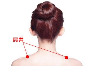 肩井(けんせい)の場所を説明する図