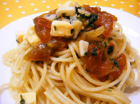 干し柿とクリームチーズのパスタの写真